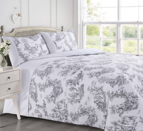 GREY WHITE STYLISH TOILE FRENCH FLORAL DESIGN WAFFLE BEDDING LUXURY DUVET COVER